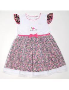 Платье с сеткой малиновые розочки