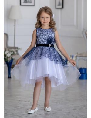 Платье нарядное бело-синего цвета с ассиметричной юбкой Гламур