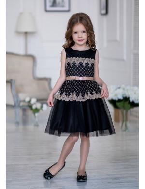 Платье нарядное черного цвета с ажурными фестонами Вайдона